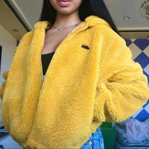 Oversized Yellow Sherpa Jacket w/ Bear Embroidery
